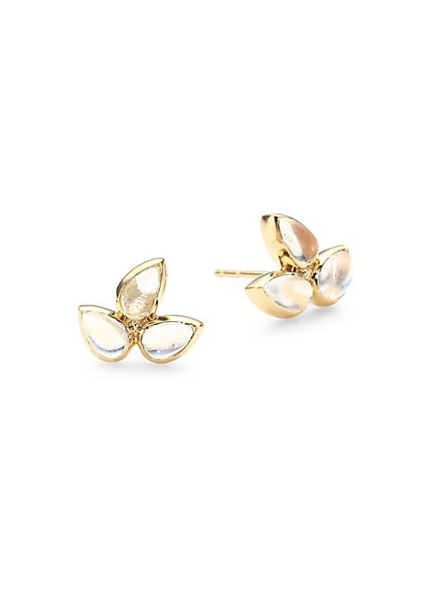 "Image of Floral yellow gold earrings with moonstone gemstones. Moonstone. Yellow gold. Width, about 0.5"". Post back. Imported."