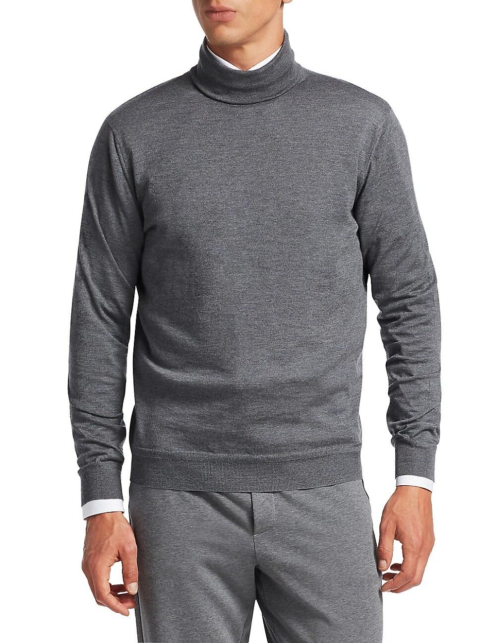 Ermenegildo Zegna Men's Storm Cashmere Turtleneck Sweater In Grey