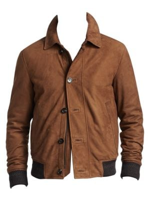 Bomber Jacket In Brown Suede Leather