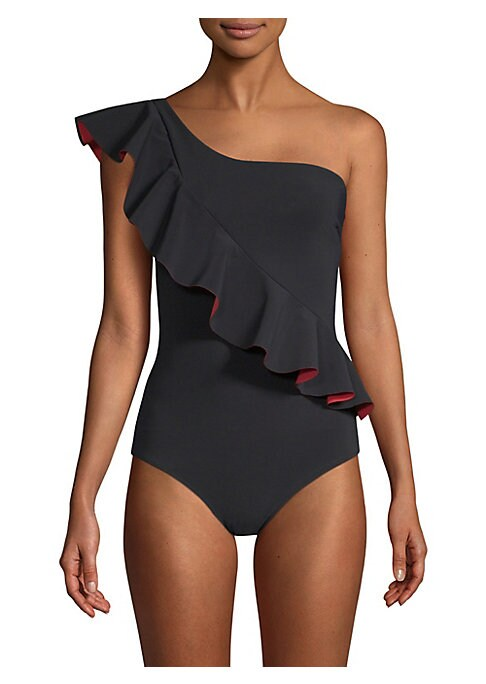 "Image of Alluring swimsuit in one-shoulder silhouette with ruffle detail. Asymmetric neckline. Sleeveless. Ruffle trim. Pull-over style. About 27"" from shoulder to hem. Nylon/spandex. Hand wash. Made in Italy."