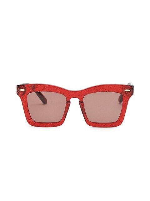 51MM Banks Red Glitter Sunglasses