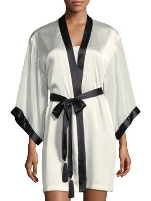 Sleek Contrast Trim Silk-Blend Short Robe, Natural