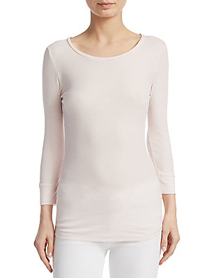 "Image of Comfortable sweater finished with ribbed design Scoopneck Three-quarter sleeves About 24"" from shoulder to hem Viscose/elastane Machine wash Imported Model shown is 5'10"" (177cm) and wearing US size 4. Private Brand - Sfa Knitwear. Majestic Filatures. Col"