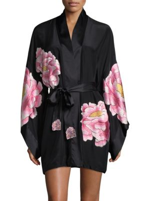 Josie Natori  Silk Peony Robe