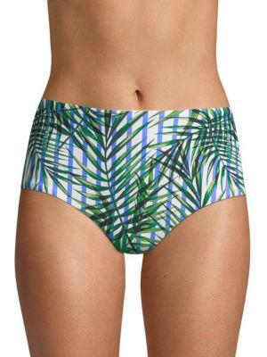 Palm Party High-Waist Swim Bikini Bottoms, White