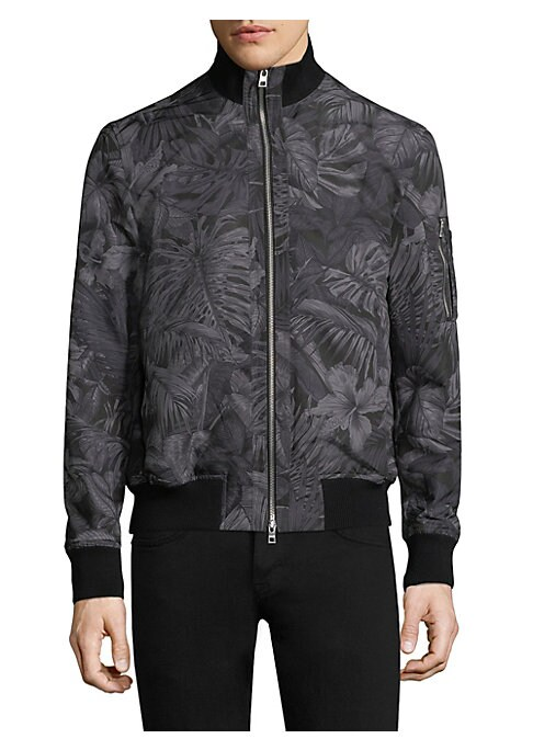 """Image of Tropical print adds modern graphic elements to bomber jacket. Rib-knit stand collar. Long sleeves. Rib-knit cuffs and hem. Zip front. Waist slip pockets. About 26"""" from shoulder to hem. Shell/lining: Polyester. Machine wash. Imported."""