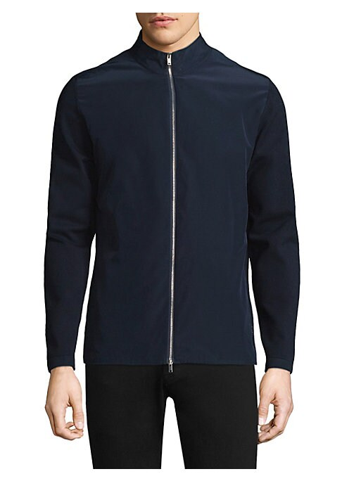 """Image of Elevate your casual wardrobe with this classic jacket. Stand collar. Long sleeves. Exposed front zip. Side welt pockets. About 28"""" from shoulder to hem. Viscose/thermoplastic PO. Dry clean. Imported."""