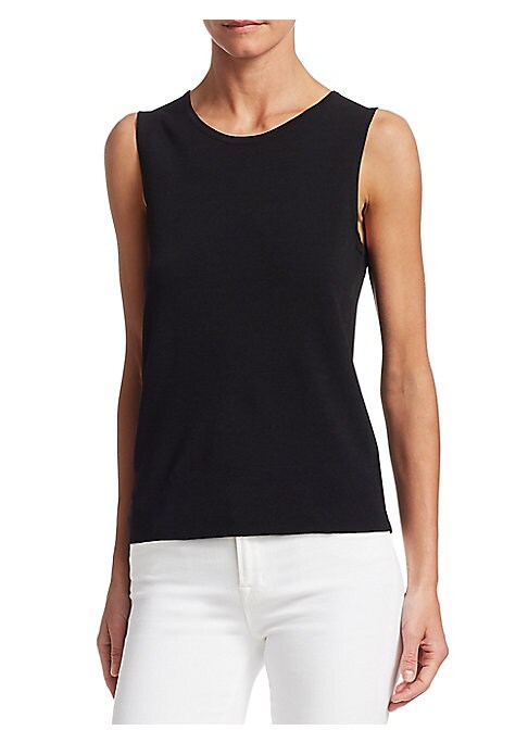 """Image of EXCLUSIVELY OURS. Lightweight sleeveless shell top is a wardrobe essential. Roundneck. Sleeveless. Pullover style. About 24"""" from shoulder to hem. Viscose/polyester. Dry clean. Imported. Model shown is 5'10"""" (177cm) wearing size Small."""
