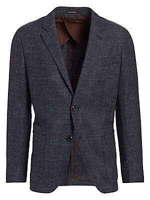 """Image of From the Saks IT LIST THE JACKET The wear everywhere layer that instantly dresses you up. Tailored jacket in sophisticated melange finish Notched lapels Long sleeves Button front close Chest welt pocket Waist patch pockets About 30"""" from shoulder to hem W"""