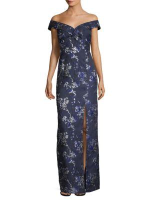 AIDAN MATTOX Off-The-Shoulder Metallic Floral Brocade Gown in Dark Blue