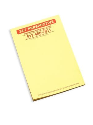 "Image of Yellow paper pad with brand motif header. Paper.4"" W x 6"" H.Made in USA."