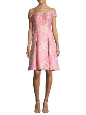 AIDAN MATTOX Off-The-Shoulder Brocade Cocktail Dress in Multi