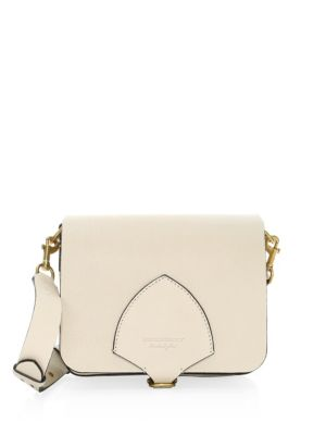 Square Leather Shoulder Bag - Beige, Stone