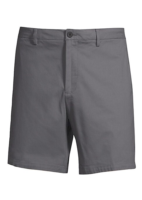 "Image of Clean front shorts in an above-knee length. Belt loops. Zip fly with button closure. Back welt pockets. Rise, about 10"".Inseam, about 8"".Leg opening, about 20"".Cotton/nylon/polyamid/elastane. Machine wash. Imported."