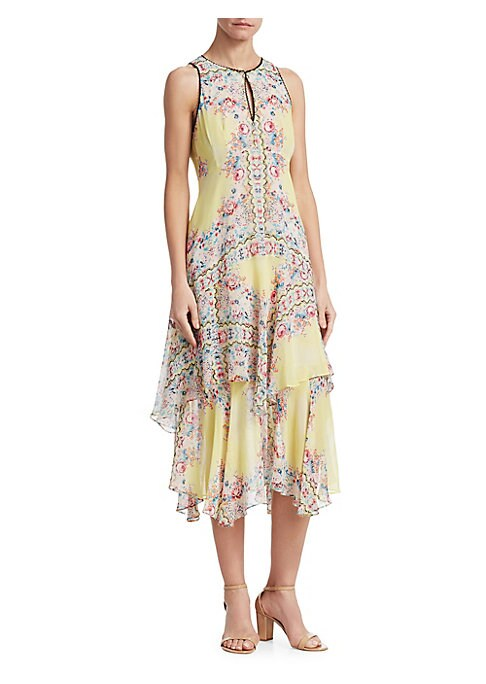 """Image of Silk chiffon dress in colorful floral print. Roundneck. Sleeveless. Front keyhole. Back zip closure. About 45"""" from shoulder to hem. Silk. Dry clean. Imported. Model shown is 5'10"""" (177cm) wearing US size 4. ."""