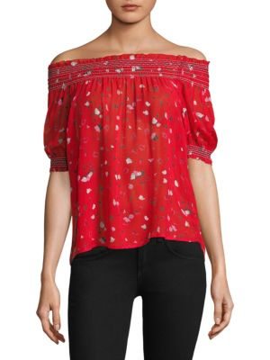 """Image of Feminine silk floral blouse with smocked neck. Off-the-shoulder neckline. Short sleeves. Pullover style. Easy fit. About 23"""" from shoulder to hem. Silk. Dry clean. Imported. Model shown is 5'10"""" (177cm) wearing US size Small."""