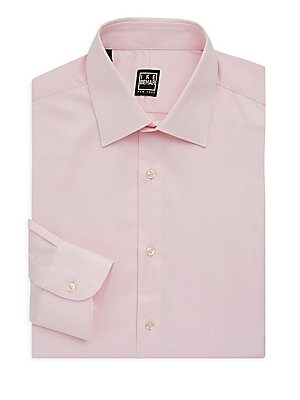 "Image of Classic dress shirt cut for a regular fit Point collar Long sleeves Buttoned barrel cuffs Button front Shirttail hem About 29"" from shoulder to hem Cotton Machine wash Made in Italy. Men Luxury Coll - Designer Dress Shirts. Ike Behar. Color: Pink. Size: 1"