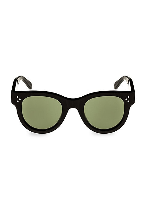 Image of Classic round sunglasses in glossy black acetate.48mm lens width; 23mm bridge width; 145mm temple length.100% UV protection. Case and cleaning cloth included. Acetate. Made in Italy.