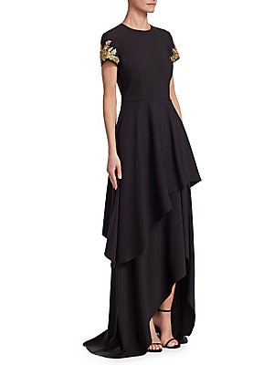 """Image of Hi-lo gown with radiant embellished sleeves Roundneck Short sleeves Hi-lo hem Concealed back zip closure About 61"""" from shoulder to hem Polyester Dry clean Imported Model shown is 5'10 (177cm) wearing US size 4. Dress Collectio - David Meister > Saks Fift"""