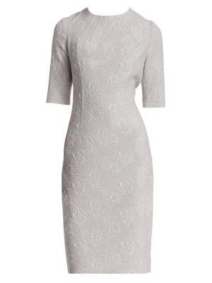 4f9cce6369 Teri Jon By Rickie Freeman Jacquard Short-Sleeve Sheath Dress In Silver