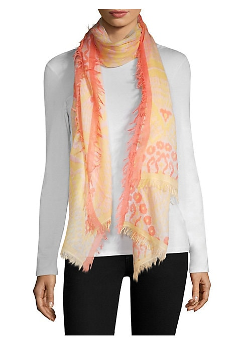 """Image of Tie-dye fringe scarf in a luxe wool and silk woven blend.78"""" L X 37"""" W.Wool/silk. Dry clean. Imported."""