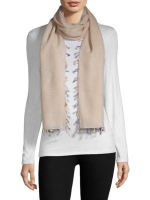 BAJRA Wool & Silk Tassel Trim Scarf in Beige Multi