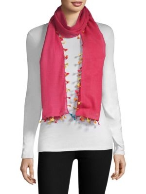 BAJRA Wool & Silk Tassel Trim Scarf in Pink Multi