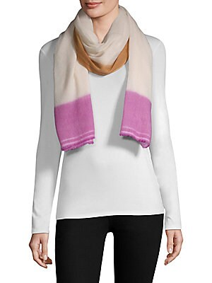"""Image of Luxurious cashmere scarf detailed with a colorful border 76"""" X 28"""" Cashmere Dry clean Imported. Soft Accessorie - Day And Evening Wraps > Saks Fifth Avenue. Bajra."""