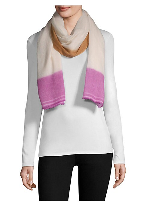 """Image of Luxurious cashmere scarf detailed with a colorful border.76"""" X 28"""".Cashmere. Dry clean. Imported."""