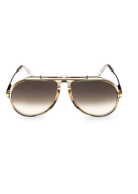 Image of Bar top shapes vintage-inspired aviator lenses.60mm lens width; 15mm bridge width; 140mm temple length.100% UV protection. Case and cleaning cloth included. Acetate. Made in Italy.