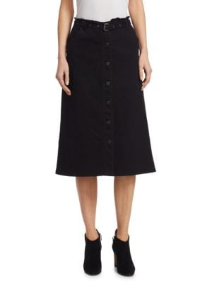 Merritt Slub Denim A-Line Skirt, Black