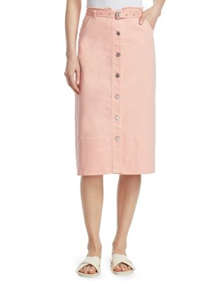 Merritt Belted Denim Skirt, Peach Nectar