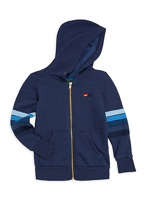 Image of Cotton-blend hoodie with smiley patch and stripe detail on sleeves. Attached hood. Long sleeves. Banded cuffs and hem. Exposed front zip. Split kangaroo pocket. Cotton/polyester/rayon. Machine wash. Made in USA.