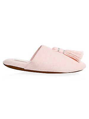 Image of Knit slippers with tassel accent Cotton and polyester upper Round toe Slip-on style Rubber sole Imported. Lingerie - Modern Sleepwear. Skin. Color: Heather Grey. Size: Medium (7-8).