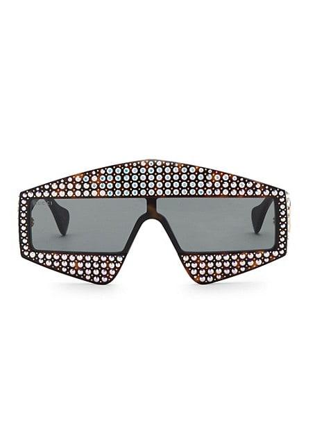 Fashion Show Dark Havana & Crystal Mask Sunglasses/99MM