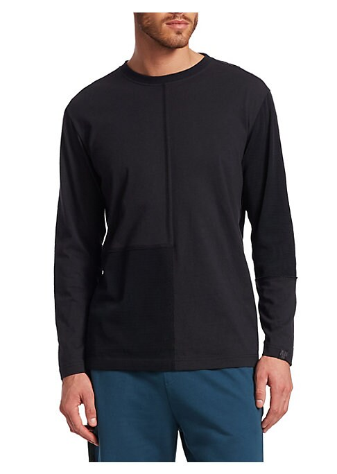 """Image of EXCLUSIVELY OURS. Pieced seaming adds style to essential pullover. Crewneck. Long sleeves. Pullover style. About 27"""" from shoulder to hem. Cotton. Contrast: Polyester/spandex. Machine wash. Imported."""