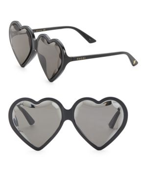 Forever Hollywood Heart-Shaped Acetate Sunglasses, Black