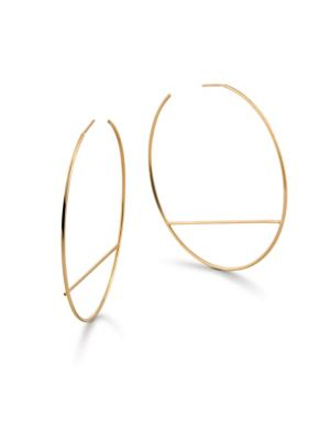Wire Eclipse Hoop Earrings in Yellow Gold