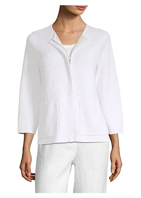 """Image of Chic cardigan enhanced with contrasting inner cuffs. Roundneck. Three-quarter sleeves. Concealed front zip. Front patch pockets. About 24"""" from shoulder to hem. Organic linen/organic cotton/nylon/spandex. Hand wash. Imported. Model shown is 5'10"""" (177cm)"""