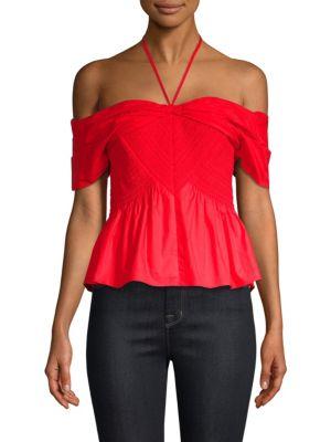 Kirsten Off-The-Shoulder Poplin Top in Red
