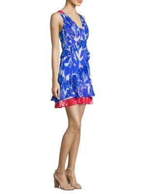 Eva Pleated Parrot Tulip-Print Mini Dress in Cobalt
