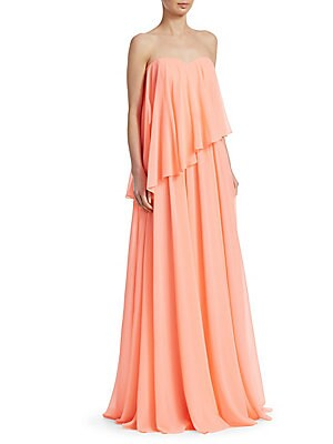 "Image of Airy overlay gown in strapless silhouette Sweetheart neckline Strapless Concealed back zip closure About 64"" from shoulder to hem Polyester Dry clean Imported Model shown is 5'10 (177cm) wearing US size 4. Dress Collectio - Badgley Mischka > Saks Fifth Av"