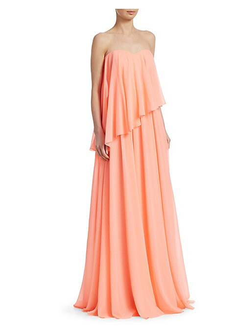 """Image of Airy overlay gown in strapless silhouette. Sweetheart neckline. Strapless. Concealed back zip closure. About 64"""" from shoulder to hem. Polyester. Dry clean. Imported. .Model shown is 5'10"""" (177cm) wearing US size 4. ."""