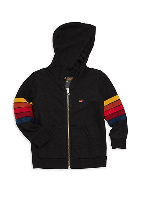 Image of Cotton-blend hoodie with multicolored stripe appliques and Brooklyn back patch. Round neck with attached hood. Long sleeves. Ribbed cuffs and hems. Zip front. Split kangaroo pocket. Cotton/polyester/rayon. Machine wash. Made in USA.