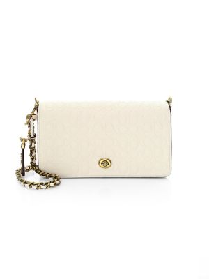 Signature Embossed Leather Crossbody Bag, Chalk