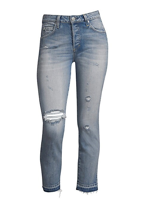 """Image of Cropped denim jeans in distressed finish. Belt loops. Front zip-fly with button closure. Five-pocket style. Rise, about 10"""".Inseam, about 27"""".Cotton/elastane. Machine wash. Made in USA. Model shown is 5'10"""" (177cm) wearing US size 4."""