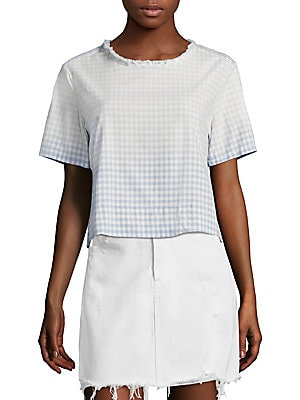 "Image of Cropped cotton tee in gingham plaid print Roundneck Short sleeves Pullover style About 18"" from shoulder to hem Cotton Dry clean Made in USA Model shown is 5'10 (177cm) wearing US size Small. Contemporary Sp - Denim And Bottoms. AMO. Color: Baby Blue. Siz"