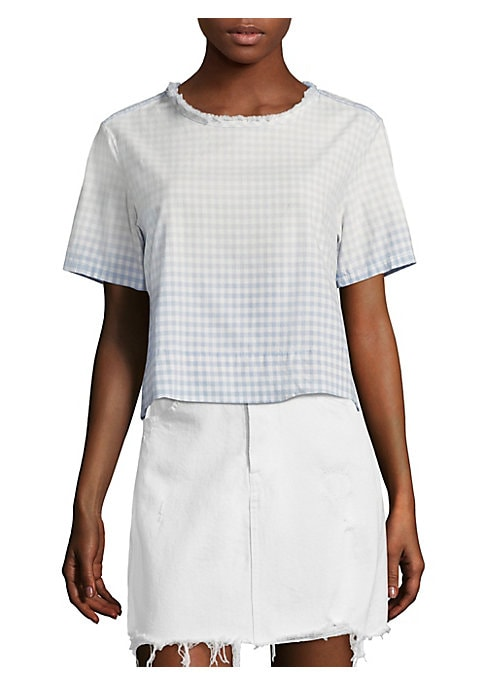 """Image of Cropped cotton tee in gingham plaid print. Roundneck. Short sleeves. Pullover style. About 18"""" from shoulder to hem. Cotton. Dry clean. Made in USA. Model shown is 5'10"""" (177cm) wearing US size Small."""