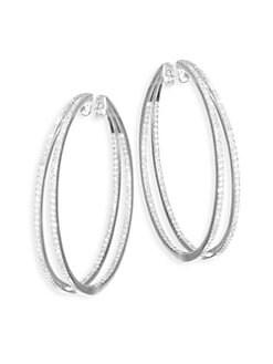 de5da14f5 Product image. QUICK VIEW. Meira T. Diamond & 14K White Gold Hoop Earrings