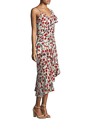 """Image of Cascading ruffled dress floral print V-neck Sleeveless Side zip closure Adjustable spaghetti strap Asymmetrical hem About 45"""" from shoulder to hem Polyester Dry clean Imported Model shown is 5'10"""" (177cm) wearing US size Small. Contemporary Sp - Trend. De"""